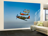 A P-36 Kingcobra, Two Curtiss P-40N Warhawks, and a P-51D Mustang in Flight Wall Mural – Large by  Stocktrek Images