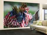 An Army Soldier's Backpack Overflows with Small American Flags Wall Mural – Large by  Stocktrek Images