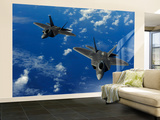 U.S. Air Force F-22 Raptors in Flight Near Guam Wall Mural – Large by  Stocktrek Images