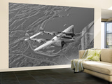 A Lockheed P-38 Lightning Fighter Aircraft in Flight Wall Mural – Large by Stocktrek Images