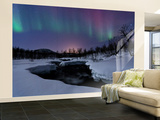 Aurora Borealis over Blafjellelva River in Troms County, Norway Wall Mural – Large by  Stocktrek Images