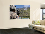 A U.S. Army Grenadier Scans a Nearby Ridgeline at a Mountaintop Observation Post in Afghanistan Wall Mural by  Stocktrek Images