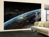 A Space Station Orbits a Hypothetical Planet Wall Mural – Large by  Stocktrek Images