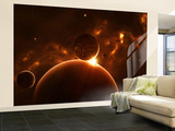 Artist's Concept of an Extraterrestrial World and its Various Moons Wall Mural – Large by  Stocktrek Images