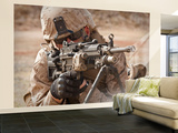 A Squad Automatic Weapon Gunner Provides Security Wall Mural – Large by  Stocktrek Images