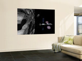 A Manned Maneuvering Vehicle Descends Toward the Surface of a Small Asteroid Wall Mural by  Stocktrek Images