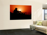 A U.S. Special Forces Soldier Armed with a Mk-12 Sniper Rifle at Sunset Wall Mural by  Stocktrek Images