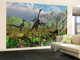 Velociraptor Dinosaurs Attack a Camarasaurus for their Next Meal Wall Mural – Large by  Stocktrek Images