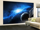 A Paradise World with a Huge City Looks Out on a Beautiful Nebula Wall Mural – Large by Stocktrek Images