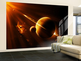 An Extraterrestrial Spacecraft Approaches a World That Lies Between Two Bright Suns Wall Mural – Large by  Stocktrek Images