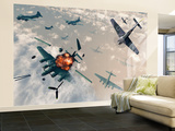 B-17 Flying Fortress Bombers Encounter German Focke-Wulf 190 Fighter Planes Wall Mural – Large by  Stocktrek Images