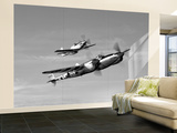 A P-38 Lightning and P-51D Mustang in Flight Wall Mural – Large by  Stocktrek Images
