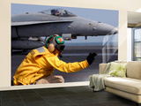 A Shooter Launches an F/A-18E Super Hornet from Uss Ronald Reagan Wall Mural – Large by  Stocktrek Images