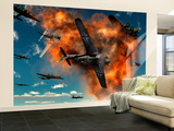 World War Ii Aerial Combat Between American P-51 Mustang and German Focke-Wulf 190 Fighter Planes Wall Mural – Large by  Stocktrek Images