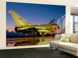 An Italian Air Force Eurofighter Typhoon at Night on Decimomannu Air Base, Italy Wall Mural – Large by  Stocktrek Images
