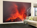 Vulcanian Eruption with Glowing Lava Bombs on Sakurajima Volcano, Japan Wall Mural – Large by  Stocktrek Images