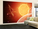 A Planet and its Moon Resisting the Relentless Heat of the Giant Orange Sun Pollux Wall Mural – Large by  Stocktrek Images