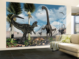 A Carnivorous Allosaurus Confronts a Giant Diplodocus Herbivore During the Jurassic Period on Earth Wall Mural – Large by  Stocktrek Images