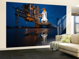 Night View of Space Shuttle Atlantis on the Launch Pad at Kennedy Space Center, Florida Wall Mural – Large by  Stocktrek Images