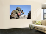A U.S. Marine Looks Through the Scope of an M40A1 Sniper Rifle Wall Mural by Stocktrek Images