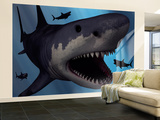 A Megalodon Shark from the Cenozoic Era Wall Mural – Large by  Stocktrek Images