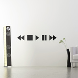 Stop Pause Play-Medium-Black Vinilos decorativos