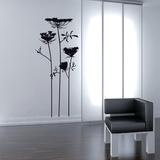 Wild Flowers-Medium-Black Autocollant mural