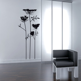 Wild Flowers-Medium-Black Wall Decal