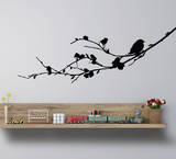 Bird On A Branch Medium (Left)-Black Wall Decal