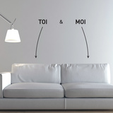 You and Me-Medium-Black Autocollant mural