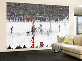 Colts Bills Football: Orchard Park, NY - Bills and Colts in the Snow Wall Mural – Large by Mike Groll