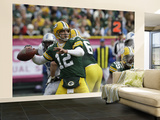 Lions Packers Football: Green Bay, WI - Aaron Rodgers Wall Mural – Large by Mike Roemer