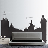 On the Roofs, View B-Medium-Black Wall Decal