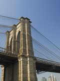 Brooklyn Bridge Tower and Lower Manhattan Photographic Print by Tom Grill