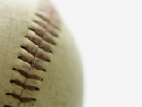 stitching on baseball Photographic Print by Keith Goldstein