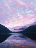 Lake and misty mountains at sunset, Allgau, Germany Photographic Print by Herbert Kehrer