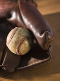 Baseball and Old Mitt Photographic Print by Tom Grill