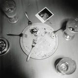Plate with forks and glasses on a table Photographic Print by  Mika