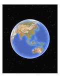 Globe against starfield Lámina giclée por Matthias Kulka