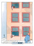A boy leaning out of the third story window of a building is dropping M&Ms… - New Yorker Cartoon Premium Giclee Print by Jack Ziegler