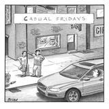 Two prostitutes in comfortable sweatpants, shorts, tennis-shoes, etc. (one… - New Yorker Cartoon Premium Giclee Print by Harry Bliss