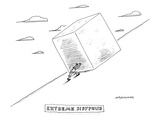 Sisyphus pushes a large cube (instead of the traditional boulder) up a hil… - New Yorker Cartoon Premium Giclee Print by Mick Stevens