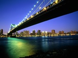 Manhattan Bridge and Skyline at Dusk Photographic Print by Alan Schein