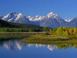 Teton Mountain Range Reflected in the Snake River Photographie par Ron Watts