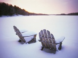 Two Snow-covered Chairs Outdoors Photographic Print by Ralph Morsch