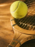 Tennis Ball and Wood Racket Photographic Print by Tom Grill