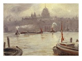 St. Paul's Cathedral and River Thames, London, England Giclee Print by George Hyde-Pownall