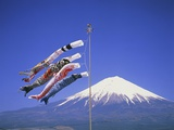 Japan: Mount Fuji and windsocks Photographic Print by José Fuste Raga