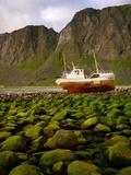 Norway/Lofoten: stranded trawler near Unstad Photographic Print by W. Krecichwost