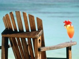 Seychelles, Denis Island, beach chair and fruit cocktail Fotografie-Druck von Sergio Pitamitz